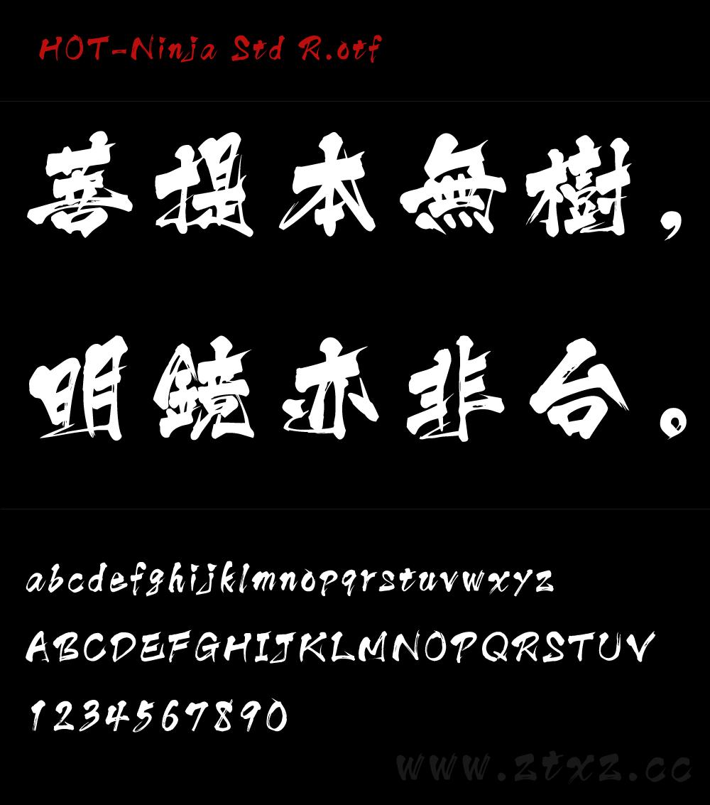 一款日本书法字体HOT-Ninja Std R.otf